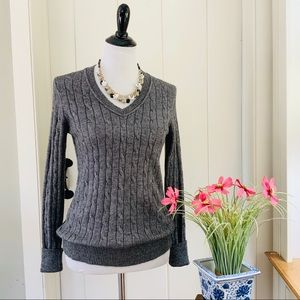 LOFT Charcoal Grey Cable Knit V-Neck Sweater